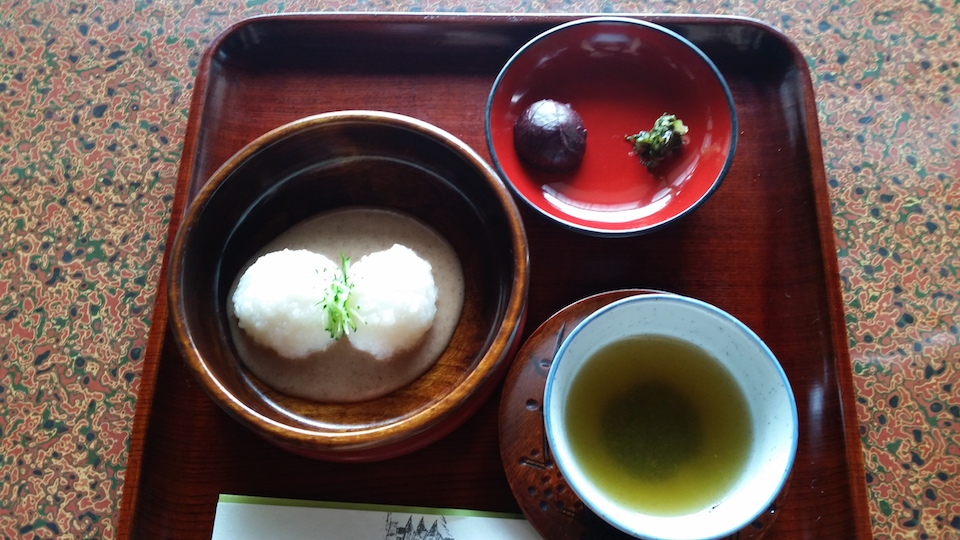 pickled plum and shiso, Warabi mochi, and matcha